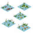 lake landscape isometric tile set cartoon or game vector image vector image