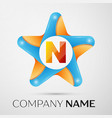 letter n logo symbol in the colorful star on grey vector image
