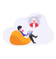 man with laptop uses virtual assistant online vector image vector image