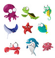 marine animals icons vector image