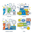 marketing online shopping business planning vector image vector image
