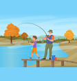 mature man standing on pier vector image vector image