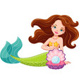 mermaid with pearl vector image