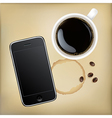 Mobile Phone With Cup Of Coffee vector image