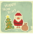 New Year postcard in Retro style vector image vector image