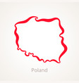outline map of poland marked with red line vector image vector image