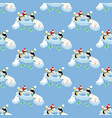 penguins fishing pattern vector image vector image