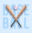 realistic baseball concept with baseball crossed vector image