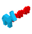 Red Elephants against blue donkey Symbols of USA vector image vector image