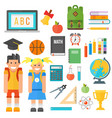 school supplies stationery equipment and schoolkid vector image vector image