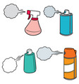 set of spray can and bottle vector image vector image