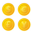 set of stylized golden coin with currency symbols vector image