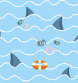 Shark in sea seamless pattern Man drowns Scenery vector image vector image