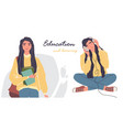 student image set online education young woman vector image vector image