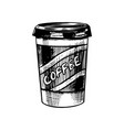take away cup coffee in vintage style vector image vector image