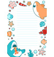 template sea childrens round frame cute sea vector image vector image