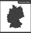 the detailed map of the germany with regions vector image vector image