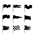 waving flags signs black icon set vector image
