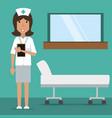 woman nurse with medical prescription and vector image