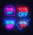 10 percent off set neon signs on a dark vector image vector image