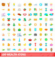 100 wealth icons set cartoon style vector image vector image
