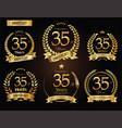 anniversary golden laurel wreath 35 years vector image vector image