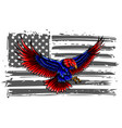 bald eagle attacking with flag usa vector image