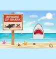 beware shark sign on sea sand beach vector image vector image