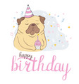 Birthday cards set with cute cartoon dogs