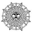 black and white mandala skull for t-shirt design vector image vector image