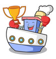 boxing winner ship mascot cartoon style vector image vector image