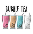 bubble milk tea with tapioca pearl ball in glass vector image