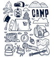 camping hand drawn doodle vector image