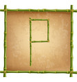 capital letter p made of green bamboo sticks on vector image vector image