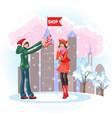cartoon happy boyfriend showing sales in shopping vector image vector image