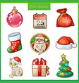cartoon icons set for christmas and new year vector image