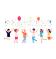 children birthday party happy kids jumping vector image