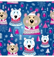 Christmas pattern with portraits of bears vector image