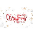 christmas postcard with red sparkling calligraphy vector image
