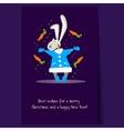 Christmas Rabbit and Falling Carrots Flat vector image vector image
