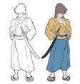 Color samurai vector image vector image