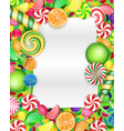 colorful candy background with lollipop and orange vector image vector image