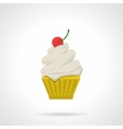 Cupcake with cherry flat color icon vector image vector image