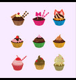 cupcakes cartoon set vector image