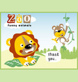 funny zoo life with cute animals cartoon vector image