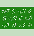 green set of leaves icons and silhouettes vector image vector image