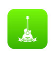 guitar icon green vector image vector image