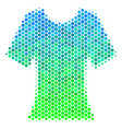 halftone blue-green lady t-shirt icon vector image