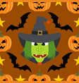 halloween background seamless with witch vector image vector image