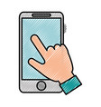 hand user with smartphone isolated icon vector image vector image